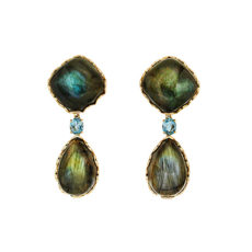 Labradorite and Aquamarine Drop Earrings