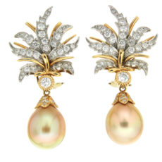 Flower Petal Golden Pearl Drop Earrings