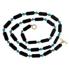 Onyx and Turquoise Strand Necklace