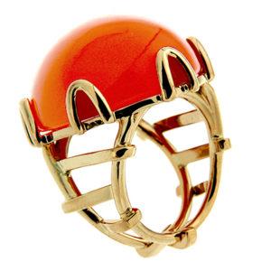 Round Cabochon Orange Moonstone Ring