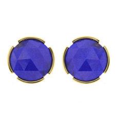 Rose Cut Lapis Lazuli Stud Earrings