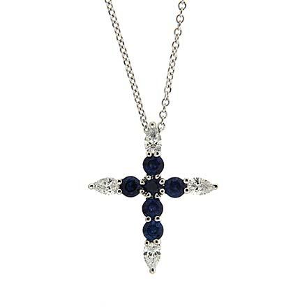 Diamond and Sapphire Cross Pendant