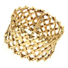 Woven Lattice Gold Flexible Bracelet