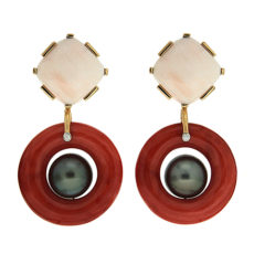 Coral and Tahitian Pearl Earrings