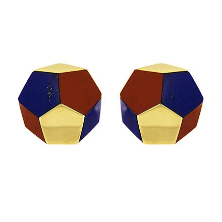 Pentagon Gold Earrings