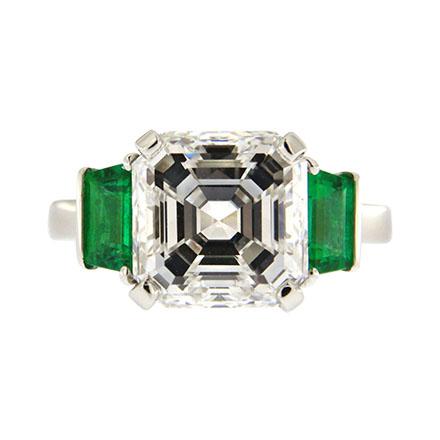 Asscher Cut and Emeralds Engagement Ring