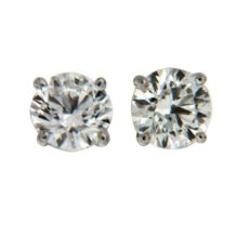 4 Prong Round Diamond Earrings