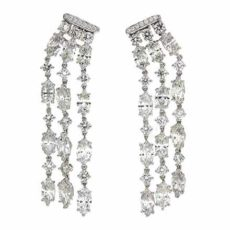 Marquise and Round Diamonds Earrings
