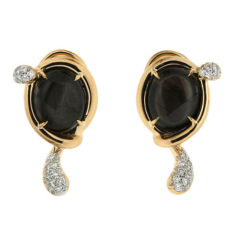 Black Sapphire and Diamond Earrings