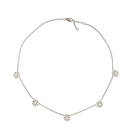 Five Cluster Diamond Necklace