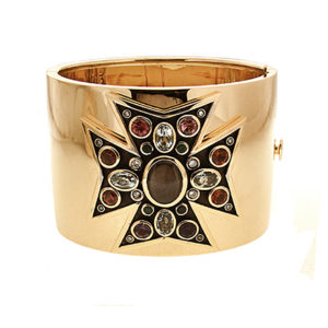 Gemstones Maltese Cuff Bracelet