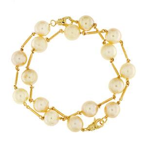 Pearl Gold Bar Bracelet