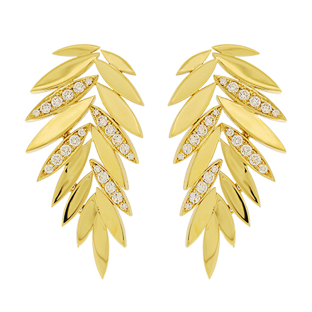 Glittering Gold Leaf Earrings with Diamonds