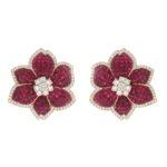 Flower Ruby and Diamond Earrings