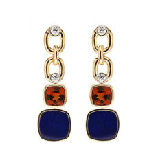 Citrine and Lapis Earrings