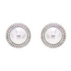 Pearl Double Diamond Halo Earrings