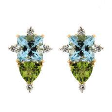 Aquamarine and Peridot Earrings