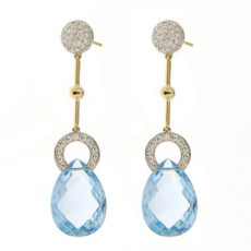Blue Topaz Briolette Diamond Earrings