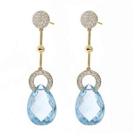 Blue Topaz Briolette Diamond Earrings