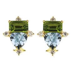 Peridot, Aquamarine and Diamond Earrings