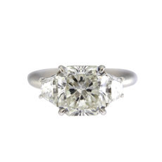 Radiant Engagement Ring with Trapezoids