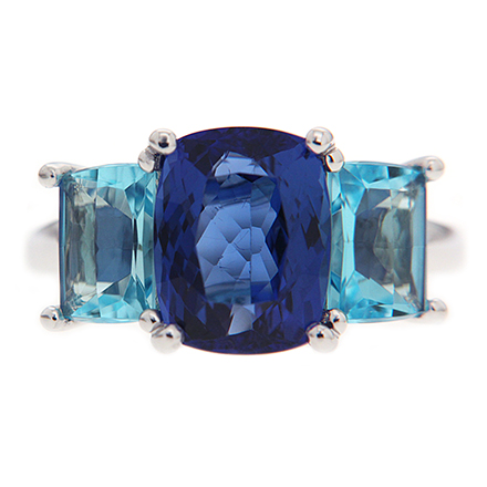 Cushion Tanzanite with Blue Topaz Ring