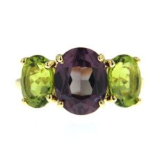 Purple Sapphire and Peridot Ring