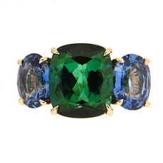 Cushion Tourmaline and Sapphire Ring