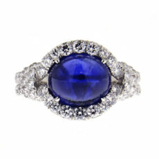 Sapphire Cabochon Ring with Diamonds