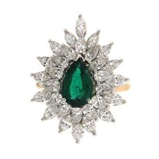 Pear Shape Emerald Marquise Diamond Ring