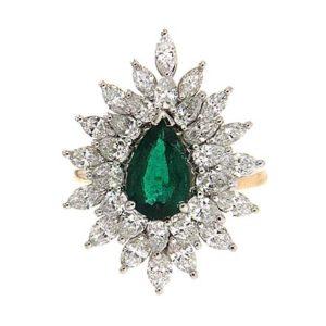 Pear Shape Emerald Marquise Diamond Ring