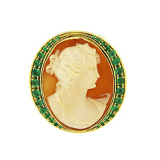 Cameo and Emeralds Ring
