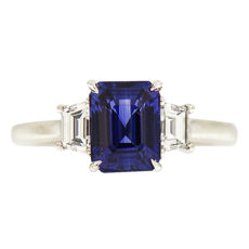 Sapphire and Trapezoid Diamonds Ring