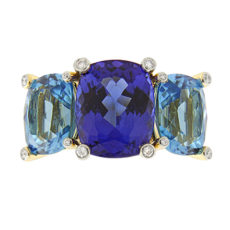 Tanzanite and Blue Topaz Ring