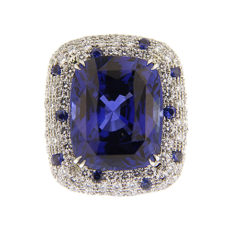 Sapphire and Diamond Cushion Ring