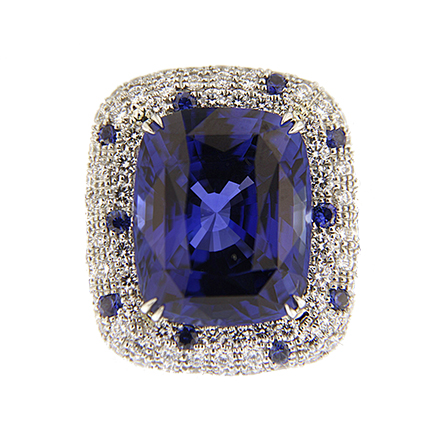 Sapphire and Diamond Cushion Ring