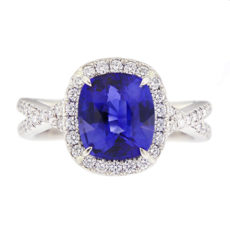 Cushion Cut Sapphire Ring with Diamonds