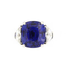Cushion Burma Sapphire and Diamond Ring