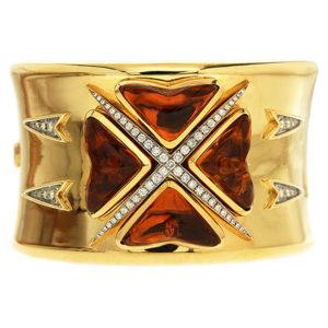 Citrine & Diamond Maltese Cuff Bracelet