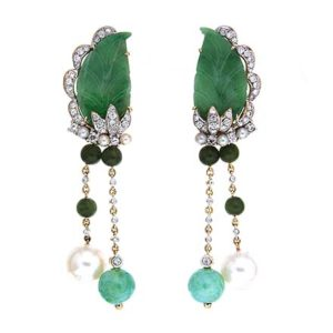 Jade, Pearl and Diamond Earrings