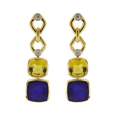 Beryl, Lapis and Diamond Drop Earrings