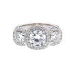 Triple Cushion Halo Engagement Ring