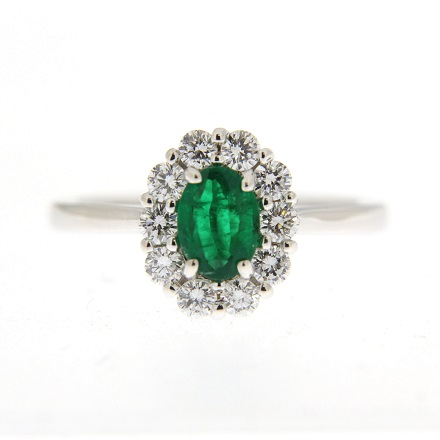 Oval Emerald and Diamond Engagement Ring