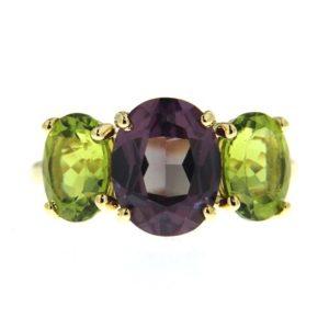 Purple Sapphire and Peridot Ring