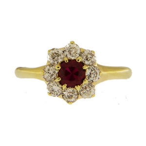 Ruby and Diamond Floral Ring