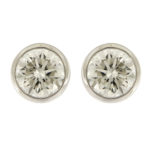 Round Brilliant Cut Bezel Set Earrings