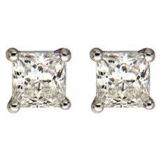 0.75ctw Princess Cut Stud Earrings