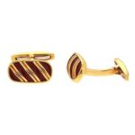 Striped Enamel and Gold Cufflinks