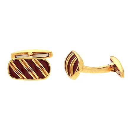 Striped Enamel and Gold Cufflinks