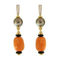 Chunky Coral and Tahitian Pearl Earrings